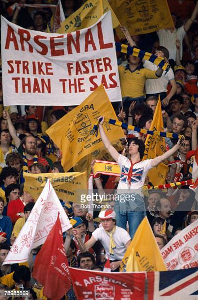 Sport Football 1980 FA Cup Final Wembley 10th May 1980 Arsenal 0 v West Ham United 1 Arsenal fans with banners and flags