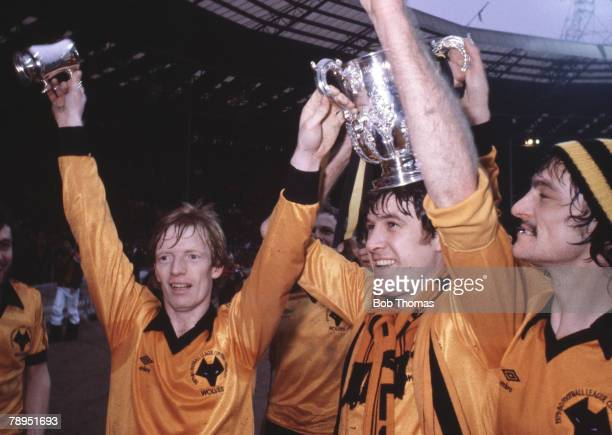 Sport Football 1980 League Cup Final Wembley London England Wolverhampton Wanderers 1 v Nottingham Forest 0 Wolves celebrate victory with the trophy...