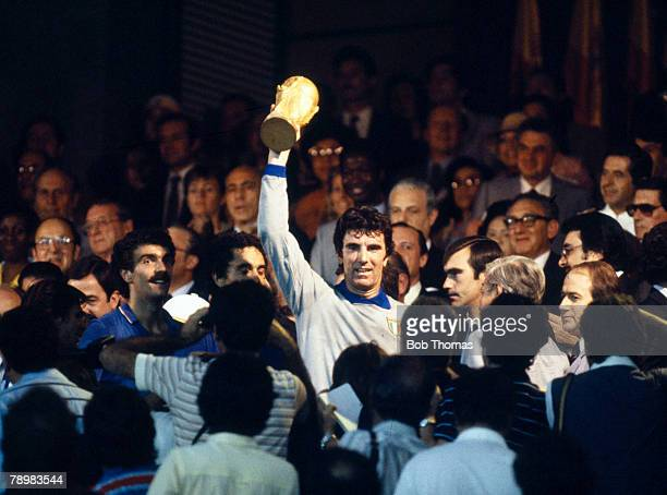 Sport Football 1982 World Cup Final Madrid Spain 11th July Italy 3 v West Germany 1 Italy's captain Dino Zoff proudly holds aloft the World Cup...