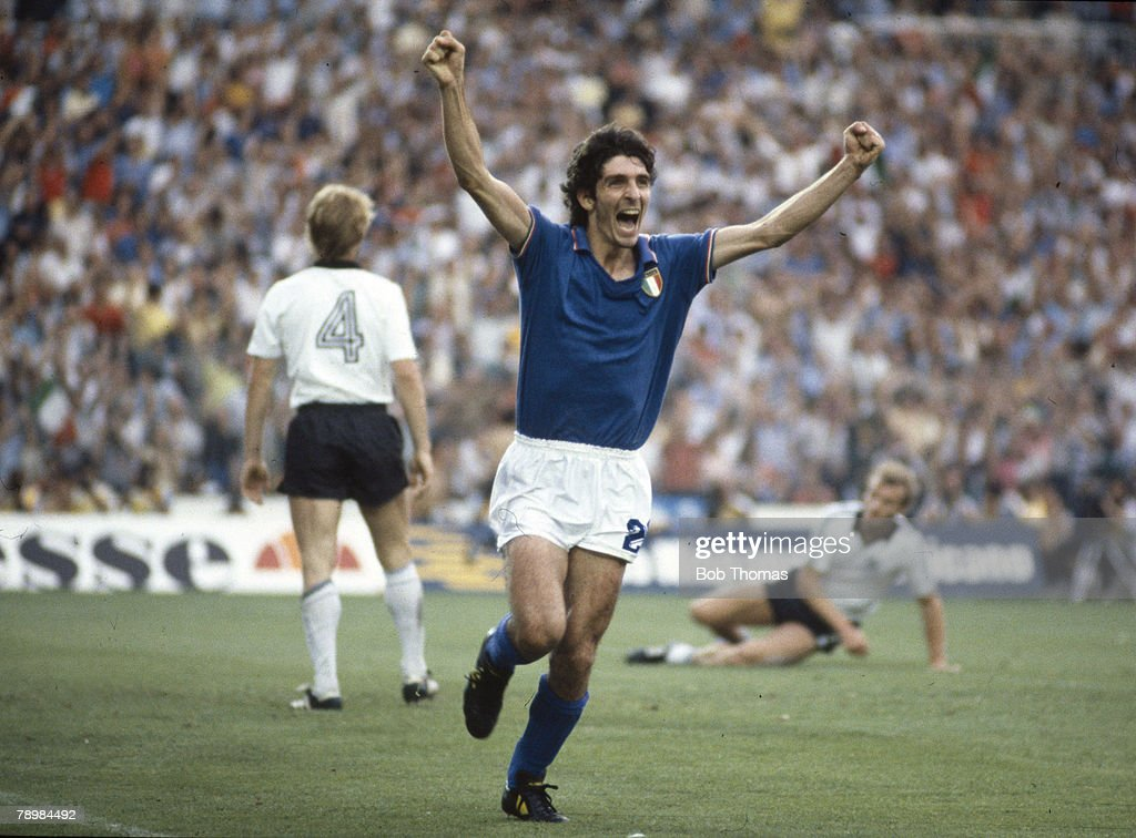 Sport. Football. 1982 World Cup Final. Madrid, Spain. 11th July, 1982. Italy 3 v West Germany 1. Italy's Paolo Rossi celebrates after scoring the opening goal in the World Cup Final. : News Photo