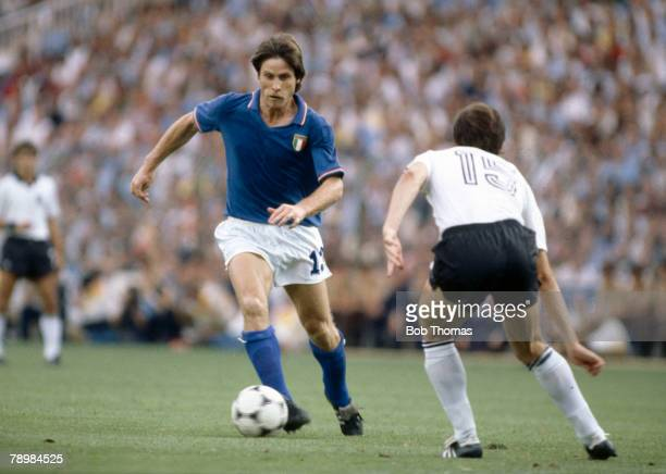 Sport Football 1982 World Cup Final Madrid Spain 11th July Italy 3 v West Germany 1 Italy's Gabriele Oriali is faced by West Germany's Uli Stielike