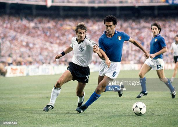 Sport Football 1982 World Cup Final Madrid Spain 11th July Italy 3 v West Germany 1 Italy's Claudio Gentile right and West Germany's Pierre...