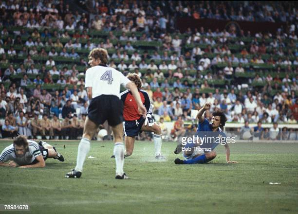 Sport Football 1982 World Cup Final Madrid Spain 11th July Italy 3 v West Germany 1 Italy's Alessandro Altobelli scores the third goal past West...