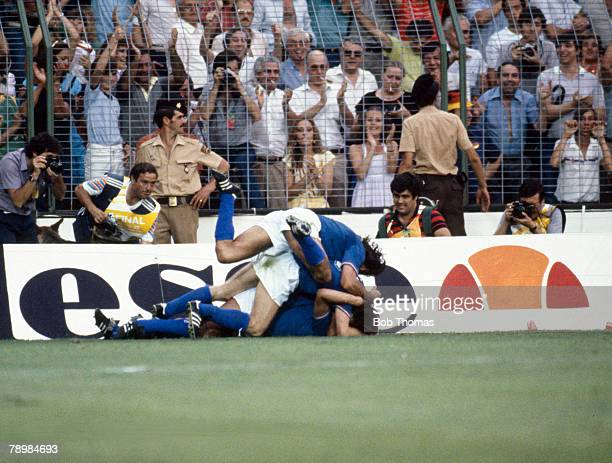 Sport Football 1982 World Cup Final Madrid Spain 11th July Italy 3 v West Germany 1 Italy's Marco Tardelli is mobbed by teammates after scoring their...