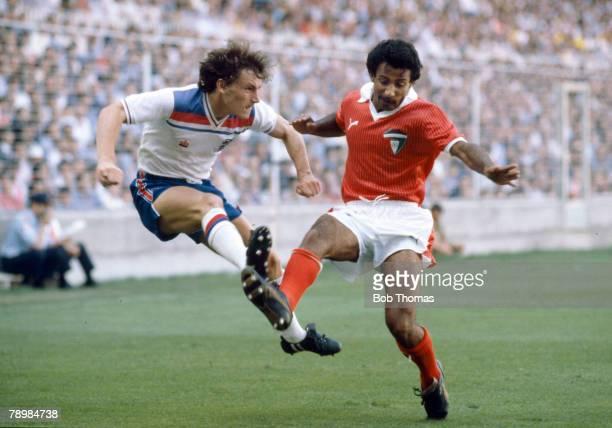 Sport Football 1982 World Cup Finals Bilbao Spain 25th June England 1 v Kuwait 0 England's Steve Coppell crosses the ball past Kuwait's Waleed Jasem