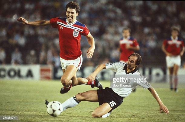 Sport Football 1982 World Cup Finals Second Phase Madrid Spain 29th June England 0 v West Germany 0 England's Bryan Robson leaps over a tackle by...