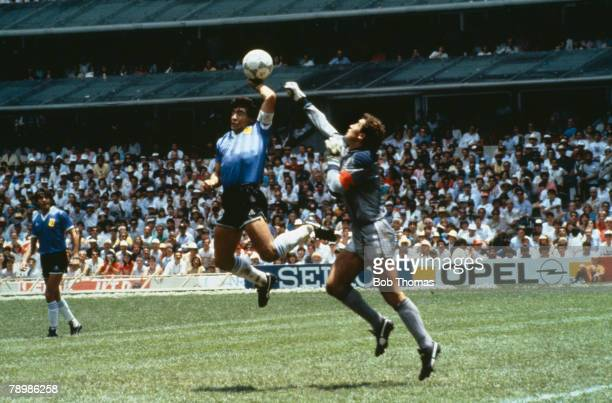 Sport Football 1986 Football World Cup Mexico Quarter Final Argentina 2 v England 1 22nd June Argentina's Diego Maradona scores 1st goal with his...