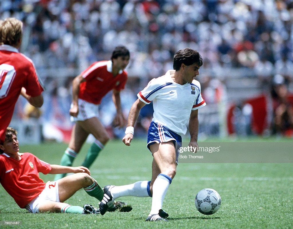 Sport. Football. 1986 World Cup Finals. Leon, Mexico. 9th June 1986. Group C. France 3 v Hungary 0. France's Manuel Amoros. : News Photo