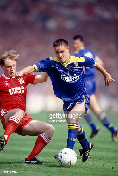 Sport Football 1988 FA Cup Final Wembley 14th May Wimbledon 1 v Liverpool 0 Wimbledon's Dennis Wise on the ball as Liverpool's Steve McMahon...