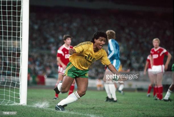 Sport Football 1988 Olympic Games in Seoul Football Final USSR 2 v Brazil 1 aet Romario celebrates after scoring Brazil's goal