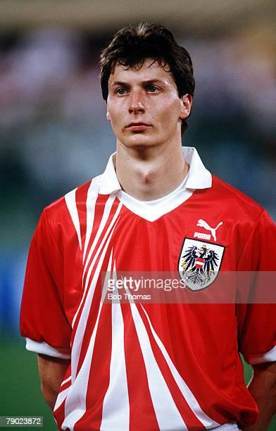 Sport Football 1990 World Cup Finals Italy Austria's Ernst Aigner