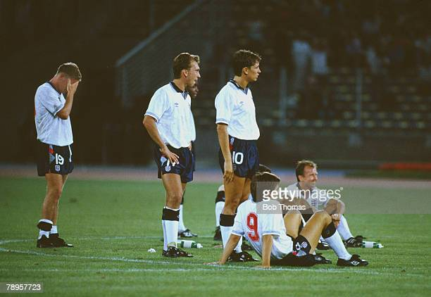 Sport Football 1990 World Cup Semi Final Turin Italy 4th July West Germany 1 v England 1 England players look nervous as they watch the penalty...