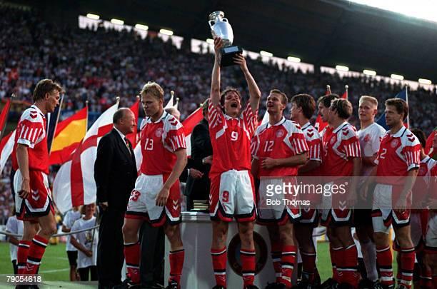 Sport Football 1992 European Championships Final Gothenburg Sweden Denmark 2 v Germany 0 26th June Flemming Poulsen holds the trophy aloft after the...