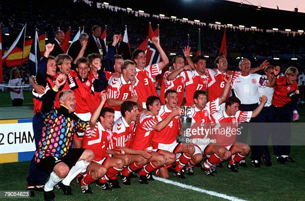 Sport Football 1992 European Championships Final Gothenburg Sweden Denmark 2 v Germany 0 26th June The team celebrate their win