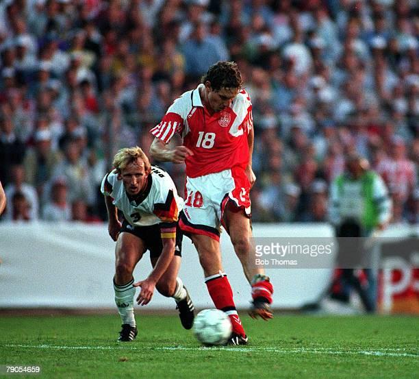 Sport Football 1992 European Championships Final Gothenburg Sweden Denmark 2 v Germany 0 26th June Denmark's Kim Vilfort fires home their second goal