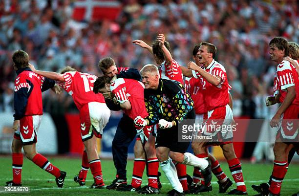 Sport Football 1992 European Championships Final Gothenburg Sweden Denmark 2 v Germany 0 26th June Goalkeeper Peter Schmeichal and his teammates...