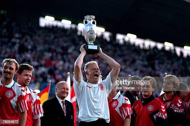 Sport Football 1992 European Championships Final Gothenburg Sweden Denmark 2 v Germany 0 26th June Goalkeeper Peter Schmeichal celebrates with his...