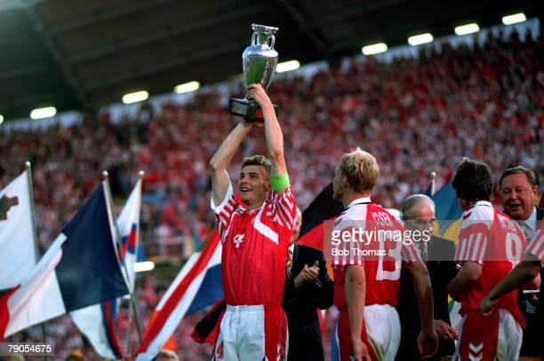 Sport Football 1992 European Championships Final Gothenburg Sweden Denmark 2 v Germany 0 Denmark's Lars Olsen holds the trophy aloft