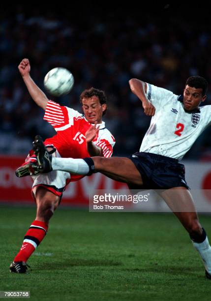 Sport Football 1992 European Championships Malmo Sweden 11th June 1992 Denmark 0 v England 0 England's Keith Curle challenges Denmark's Christensen