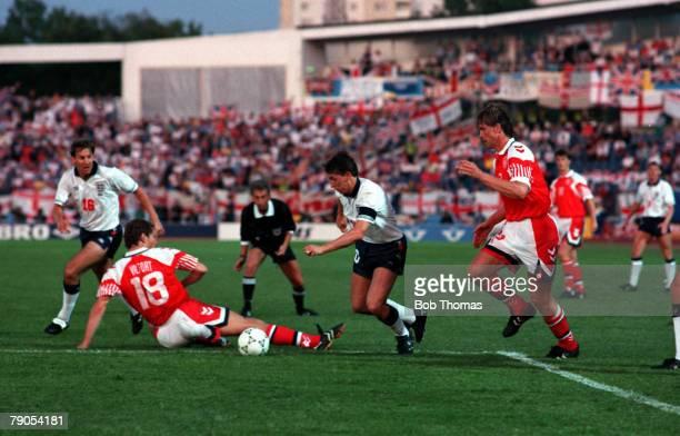 Sport Football 1992 European Championships Malmo Sweden 11th June 1992 Denmark 0 v England 0 England Captain Gary Lineker beats a challenge from...
