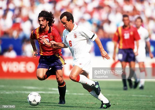 Sport Football 1994 World Cup Finals Second Phase Washington USA 6th July Spain 3 v Switzerland 0 Switzerland's G Bregy on the ball