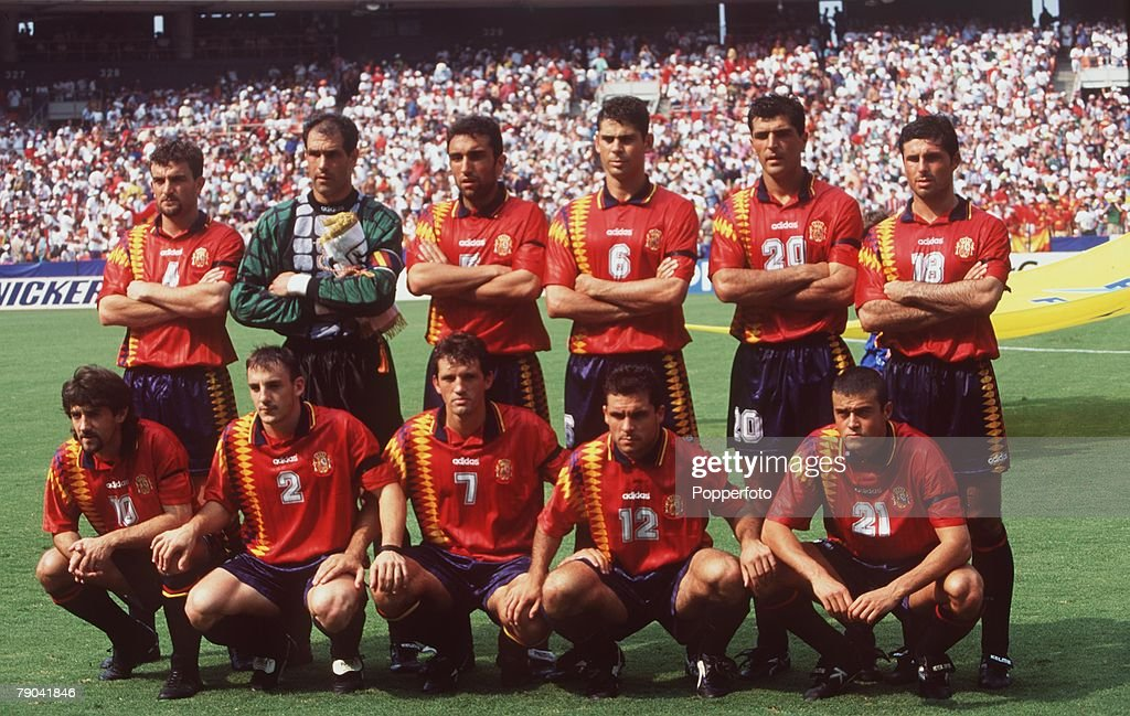 Sport, Football, 1994 World Cup Finals, Second Phase, Washington, USA, 6th July, 1994, Spain 3 v Switzerland 0, The Spanish team group before the game