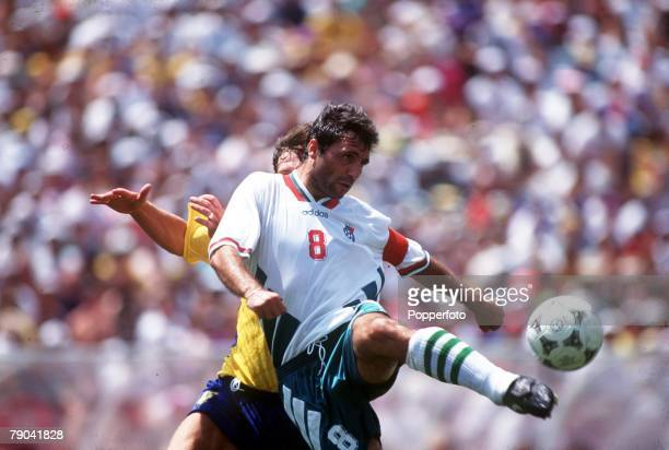 Sport Football 1994 World Cup Finals Third Place Play Off Pasadena USA 16th July Sweden 4 v Bulgaria 0 Bulgaria's Hristo Stoichkov on the ball