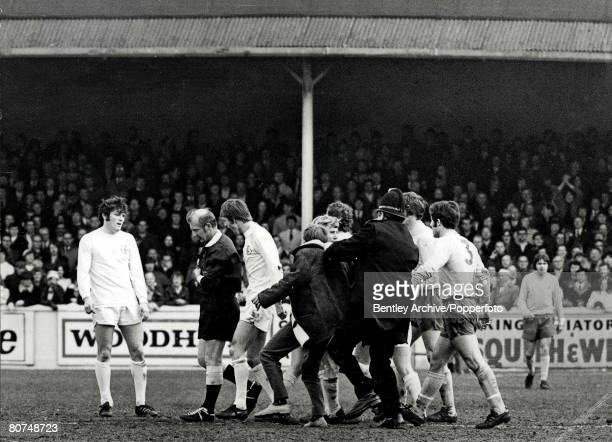 Sport, Football, 19th, April 1971, Leeds United v West Bromwich Albion, fighting on the pitch between fans and players, Fighting erupted when the...