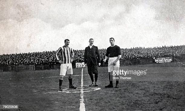 Sport Football 19th February 1910 FA Cup tie Barnsley v West Bromwich Albion The tossup West Brom captain Garraty Referee A Adams and Barnsley...