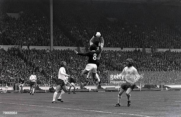 Sport Football 19th MayEngland goalie Peter Shilton leaps above Scotland's Lou Macari to save watched by Bobby Moore and Colin Bell as England beat...