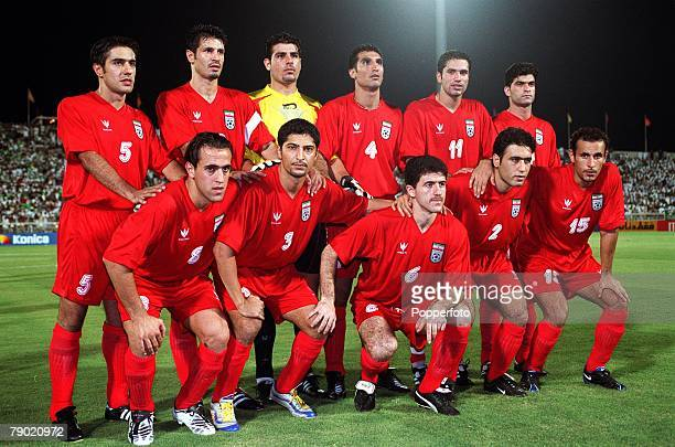 Sport Football 2002 World Cup Qualifier AFC Second Round Group A Jeddah 28th September 2001 Saudi Arabia 2 v Iran 2 The Iran team pose together for a...