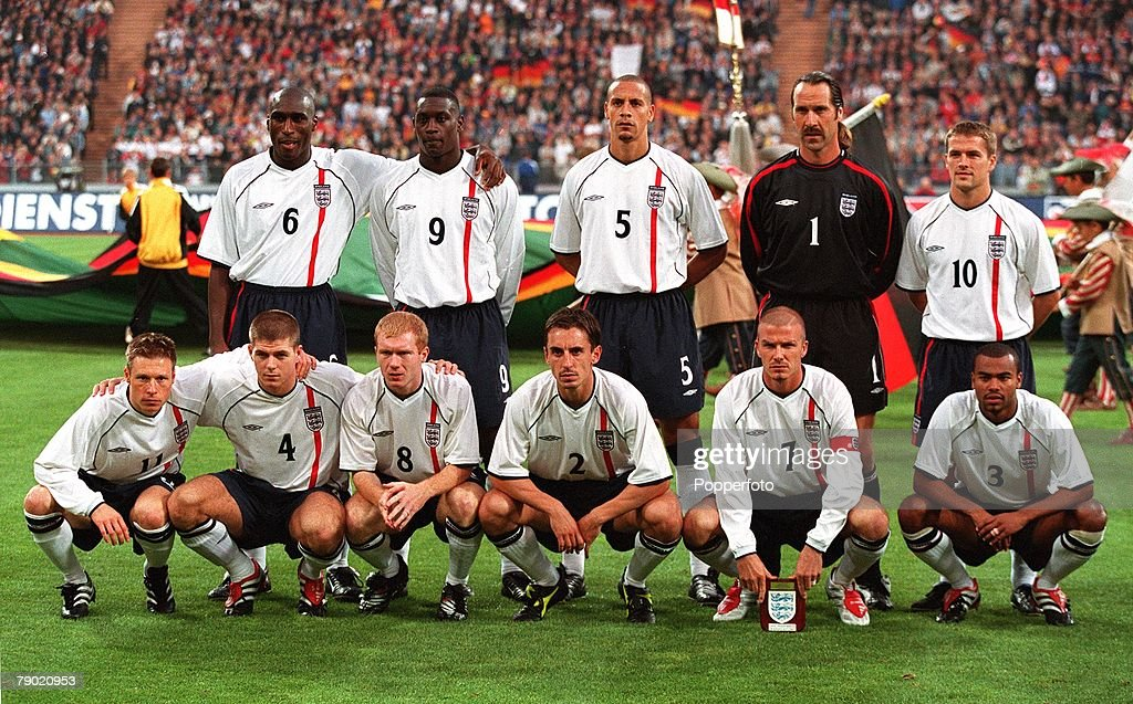 Sport. Football. 2002 World Cup Qualifier. Group 9. Munich. 1st September 2001. Germany 1 v England 5. The England team line up together for a group photograph. Back Row L-R: Sol Campbell, Emile Heskey, Rio Ferdinand, David Seaman, Michael Owen. Front Row : News Photo
