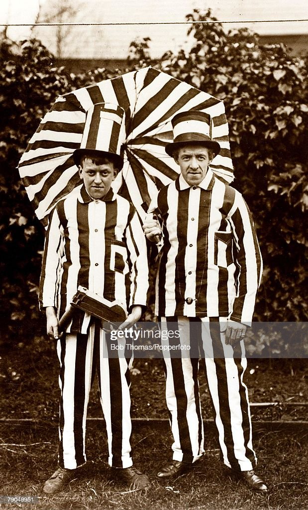 Sport, Football, 22nd April 1911, Newcastle United supporters dressed for the F.A. Cup final between Newcastle and Bradford City, After a draw at Crystal Palace, Newcastle lost the replay 1-0 at Old Trafford