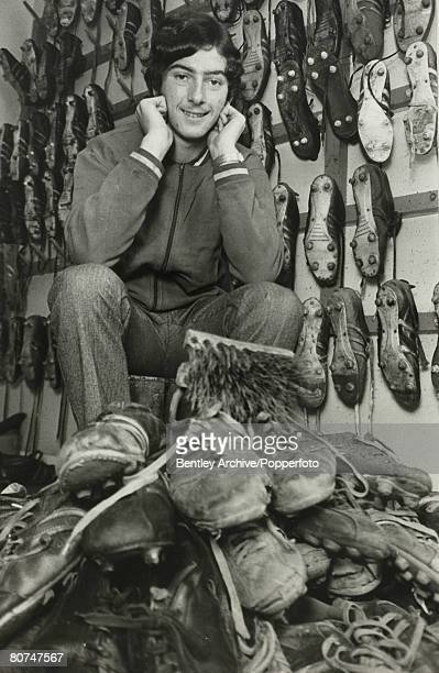 Sport Football 23rd February 1971 Birmingham City's sixteen year old Trevor Francis cleaning his teammates boots before playing in tonights FA Youth...
