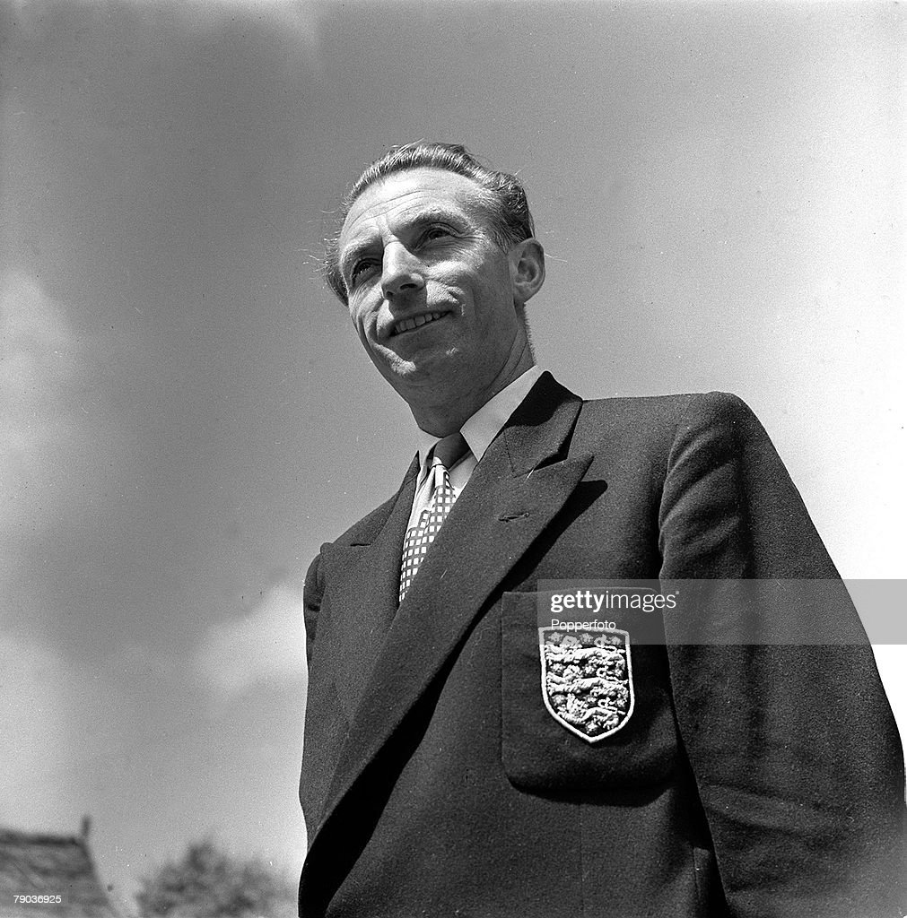 Sport, Football, 23rd July 1954, A portrait of Blackpool and England's Stanley Matthews wearing his England blazer