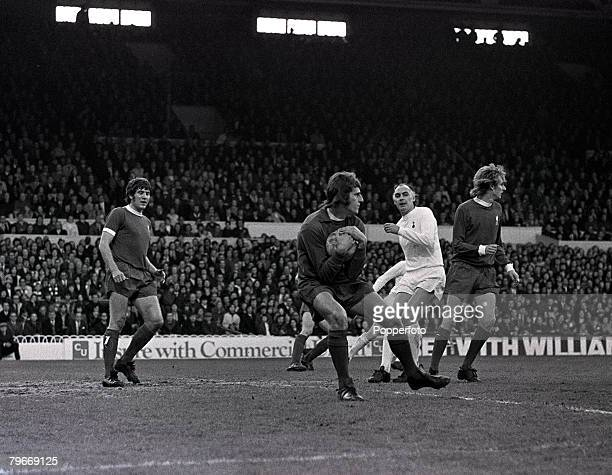Sport Football 25th April 1973 Liverpool goalkeeper Ray Clemence saves from Tottenham Hotspurs Alan Gilzean with Phil Thompson of Liverpool covering...