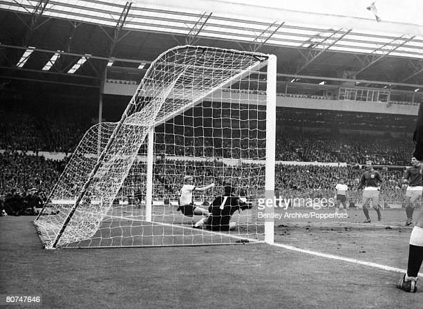 Sport Football 30th July 1966 1966 World Cup Final at Wembley England 4 v West Germany 2 aet England's Martin Peters volleys the ball past West...