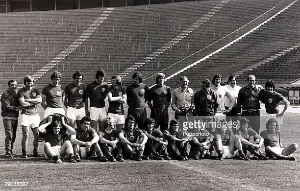 Sport, Football, 4th June 1974, The England players and staff pose for a picture in Belgrade the day before their 2-2 draw against Yugoslavia, Back...