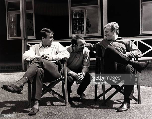 Sport Football 7th July 1966 Roehampton 1966 World Cup Finals in England England players LR Geoff Hurst Nobby Stiles and captain Bobby Moore are...