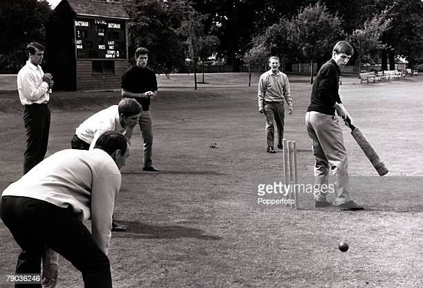 Sport, Football, 7th July 1966, Roehampton, 1966 World Cup Finals in England, Martin Peters is pictured batting in a lighthearted cricket match with...