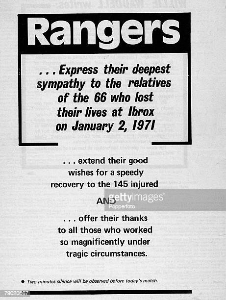 Sport, Football, An announcement in the Rangers match programme offering deepest sympathy to the relatives of the 66 dead from the Ibrox Park...