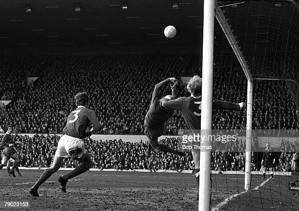 Sport Football Anfield England 12th January 1974 Liverpool 3 v Birmingham City 2 Birmingham goalkeeper Gary Sprake makes a spectacular save during...