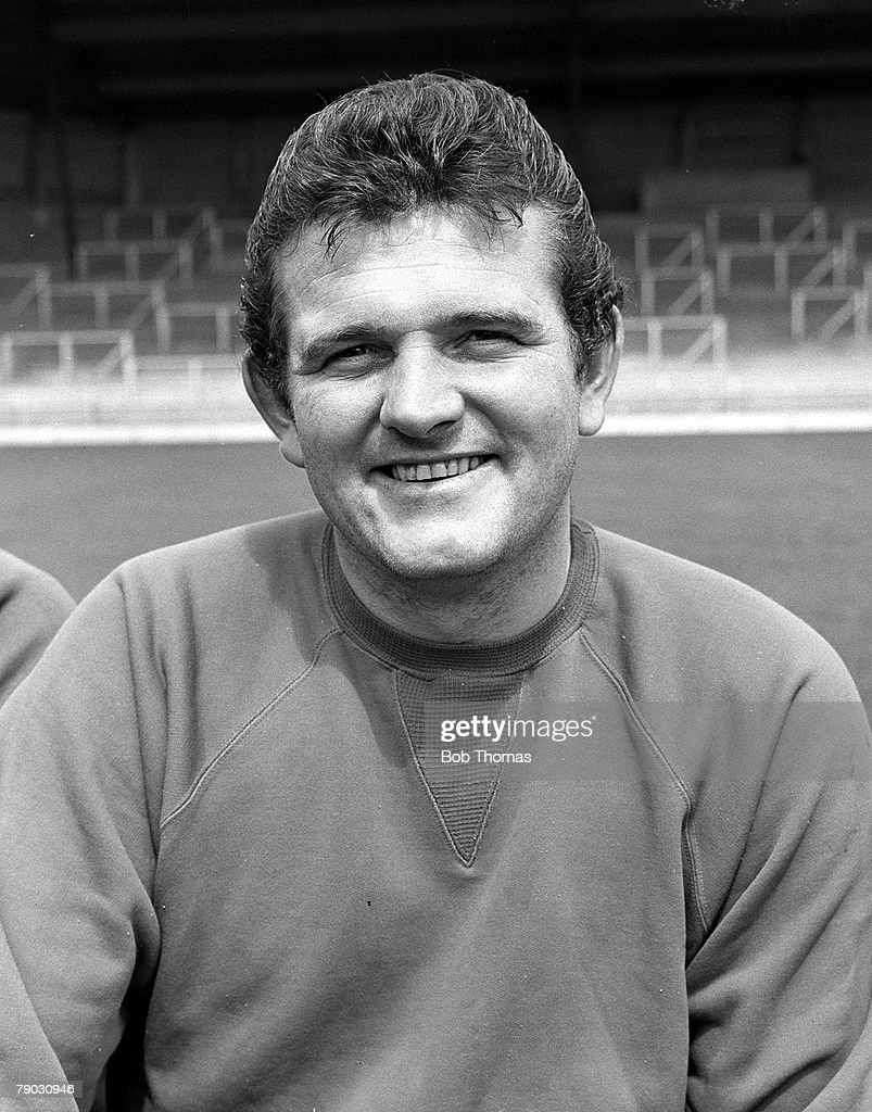 Sport. Football. Anfield, England. July 1968 Photocall. Liverpool FC goalkeeper Tommy Lawrence. : News Photo