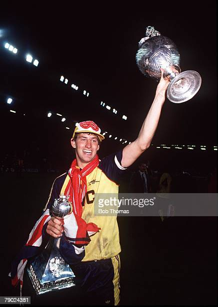 Sport Football Anfield England League Division One 26th May 1989 Liverpool 0 v Arsenal 2 Arsenal captain Tony Adams celebrates with the League...