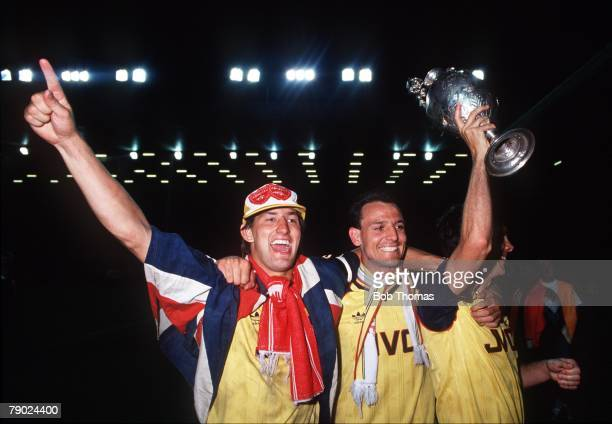 Sport Football Anfield England League Division One 26th May 1989 Liverpool 0 v Arsenal 2 Arsenal captain Tony Adams and teammate Steve Bould...