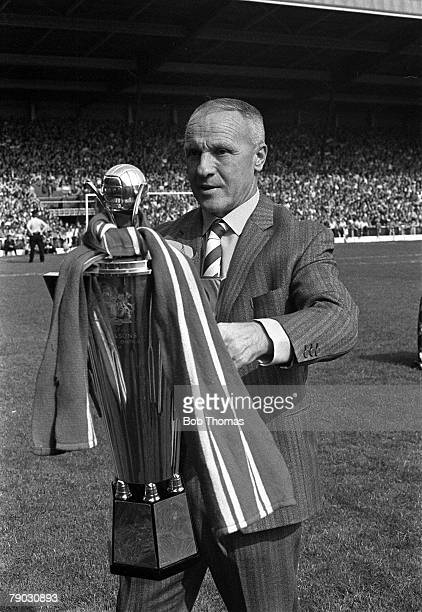 Sport Football Anfield England Liverpool FC Manager Bill Shankly is pictured with the Manager of the Year trophy for the 197273 season