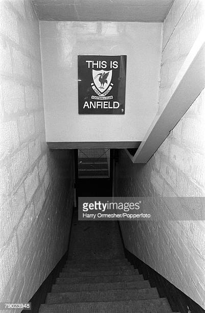 Sport Football Anfield England March 1975 The famous sign leading on to the pitch at Liverpool FC stating This is Anfield