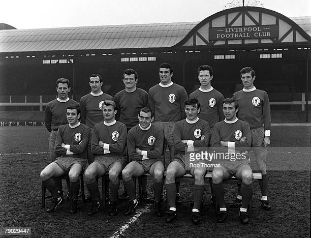 Sport Football Anfield England The Liverpool FC first team for the 196566 season pose together for a group photograph Back Row LR Gordon Milne Gerry...