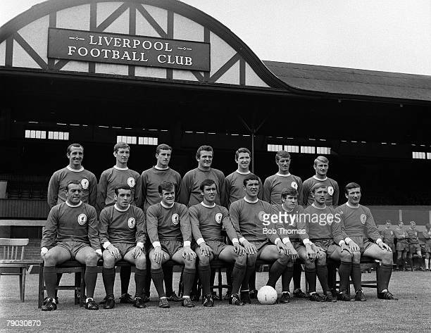 Sport Football Anfield England The Liverpool FC first team squad for the 196768 season pose together for a group photograph Back Row LR Gerry Byrne...