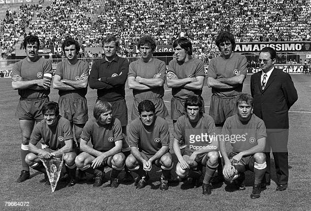 Sport Football Anglo Italian Cup Bologna Italy 12th June 1971 Bologna 1 v Blackpool 2 The Bologna squad pictured prior to losing their AngloItalian...